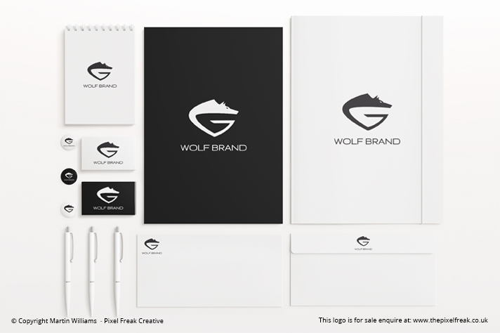 Wolf Logo Branding Mock Up
