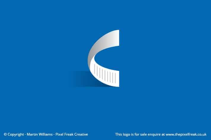 C Letter Form Curled Paper Logo Design