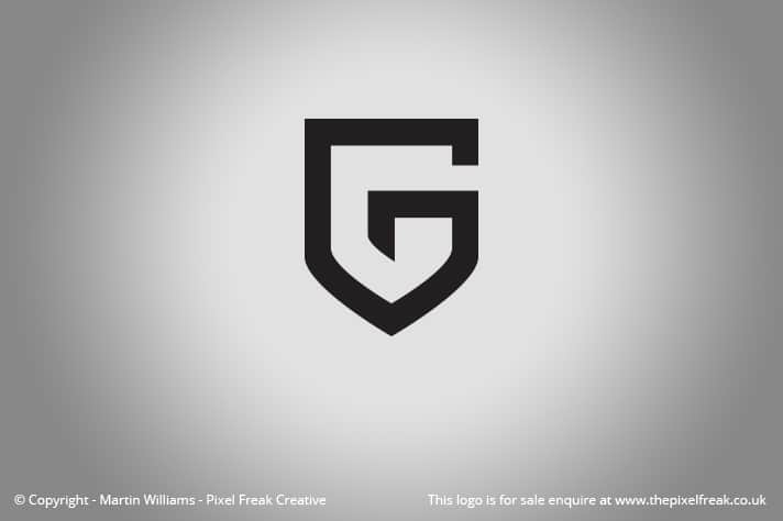 Shield Shaped G Logo For Sale Logo Design Graphic Designer