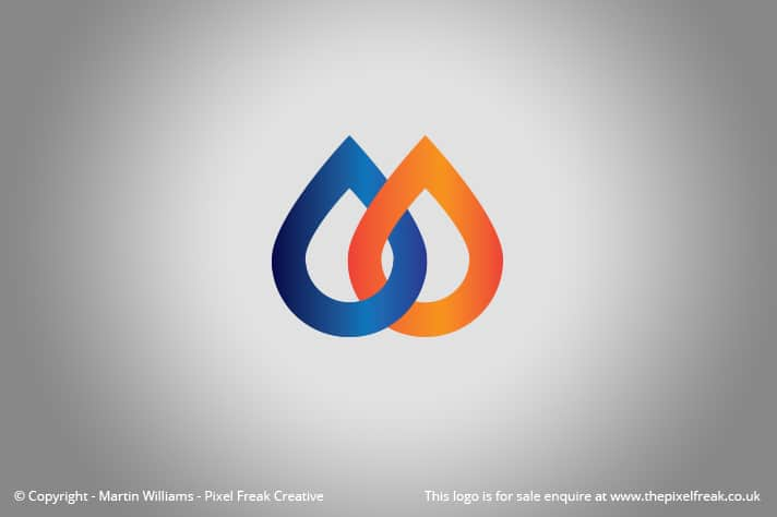 Water Fire Plumbing Gas Logo Motif