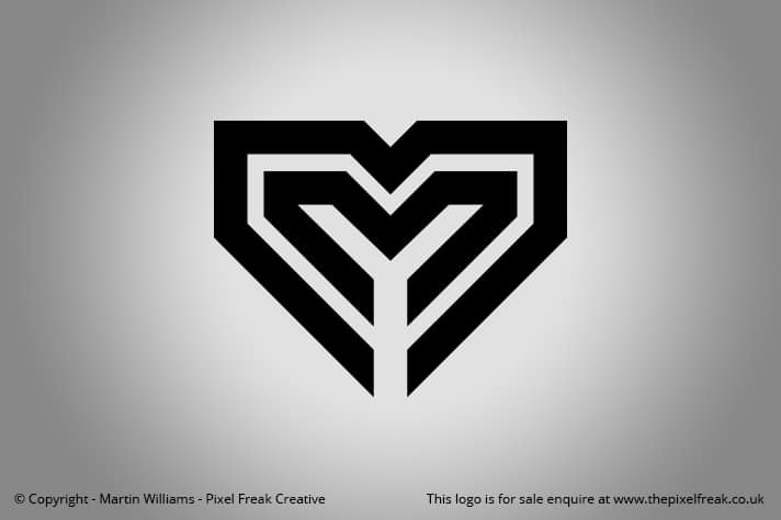 Double M Heart Shape Logo