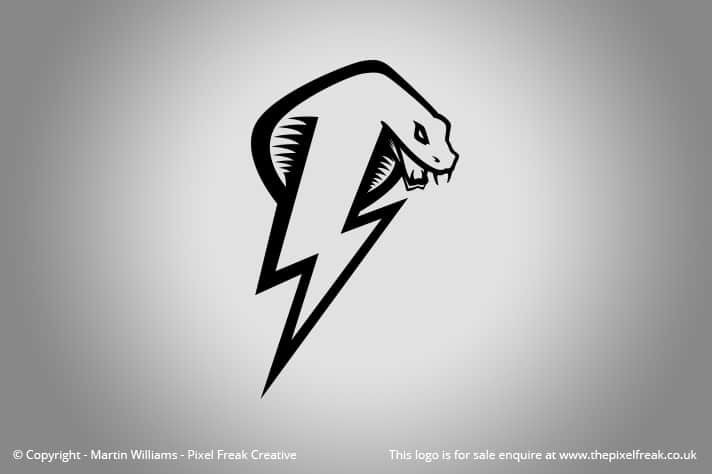 Cobra Snake Lightning Bolt Logo For Sale